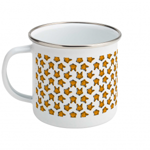 fox pattern enamel mug