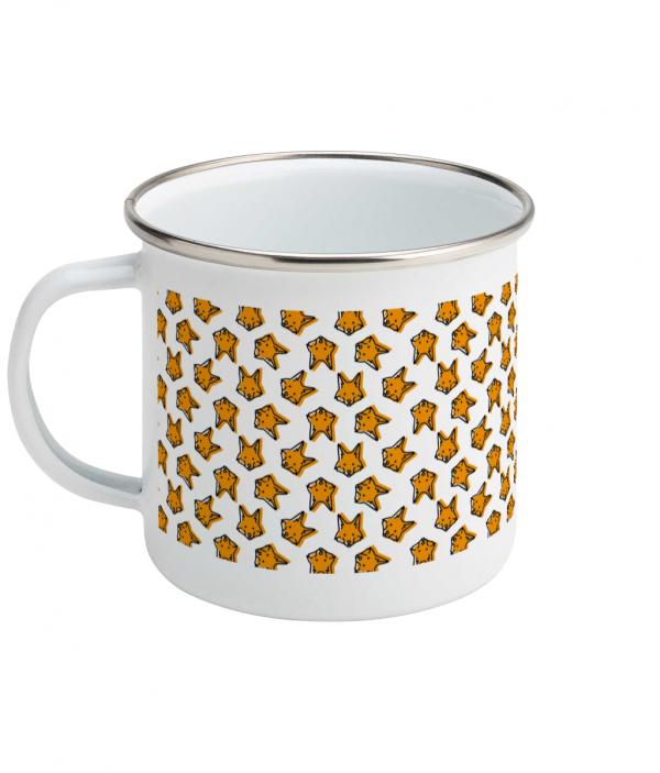 fox pattern enamel mug