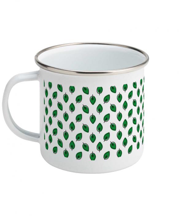 leaf pattern enamel mug