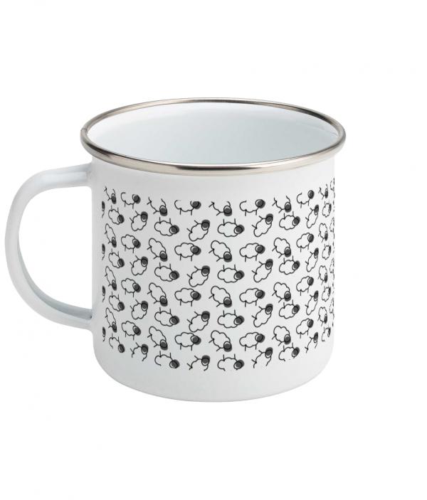 sheep pattern enamel mug