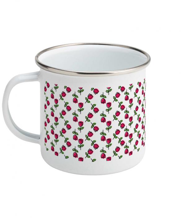 tulip pattern enamel mug