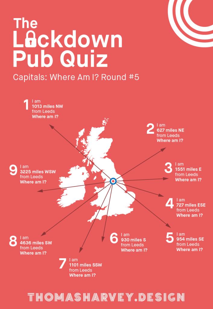 Lockdown Pub Quiz #5 - Capital Cities Map